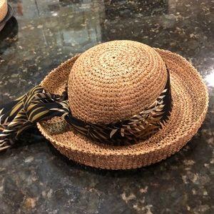 Tan Straw Hat Fern print scarf